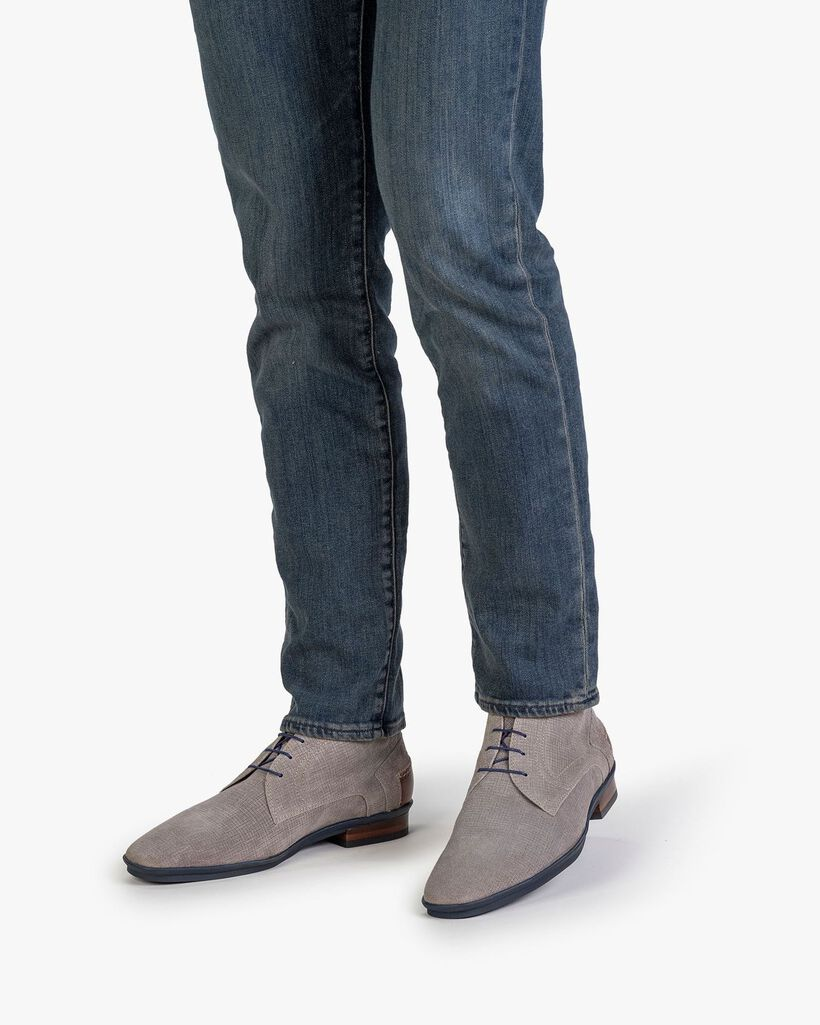 Boot printed suede leather grey
