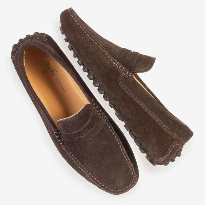 Dark brown suede leather moccasin