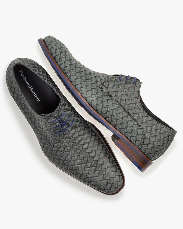 Lace shoe green nubuck leather
