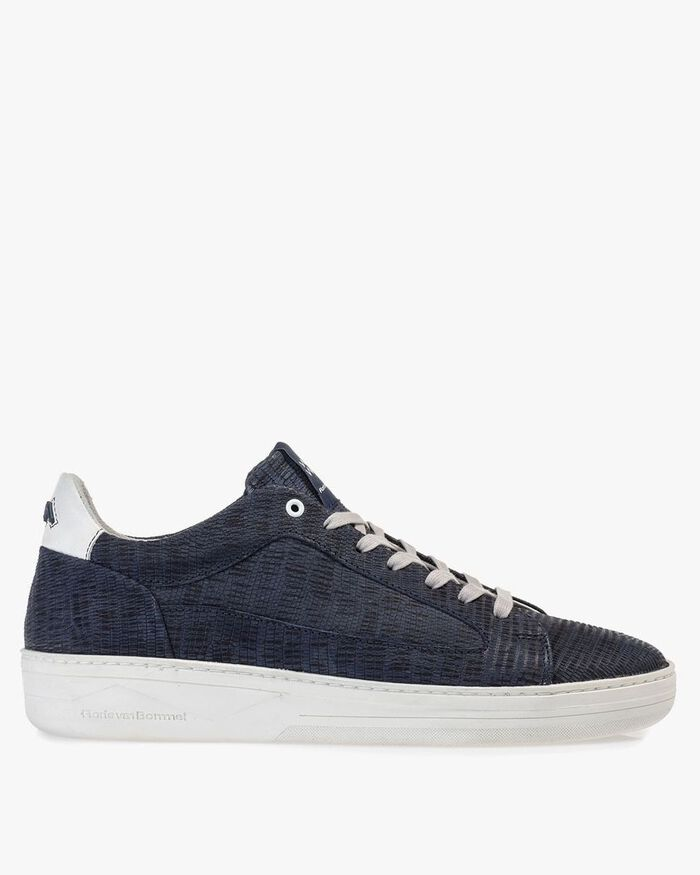 Sneaker printed leather dark blue
