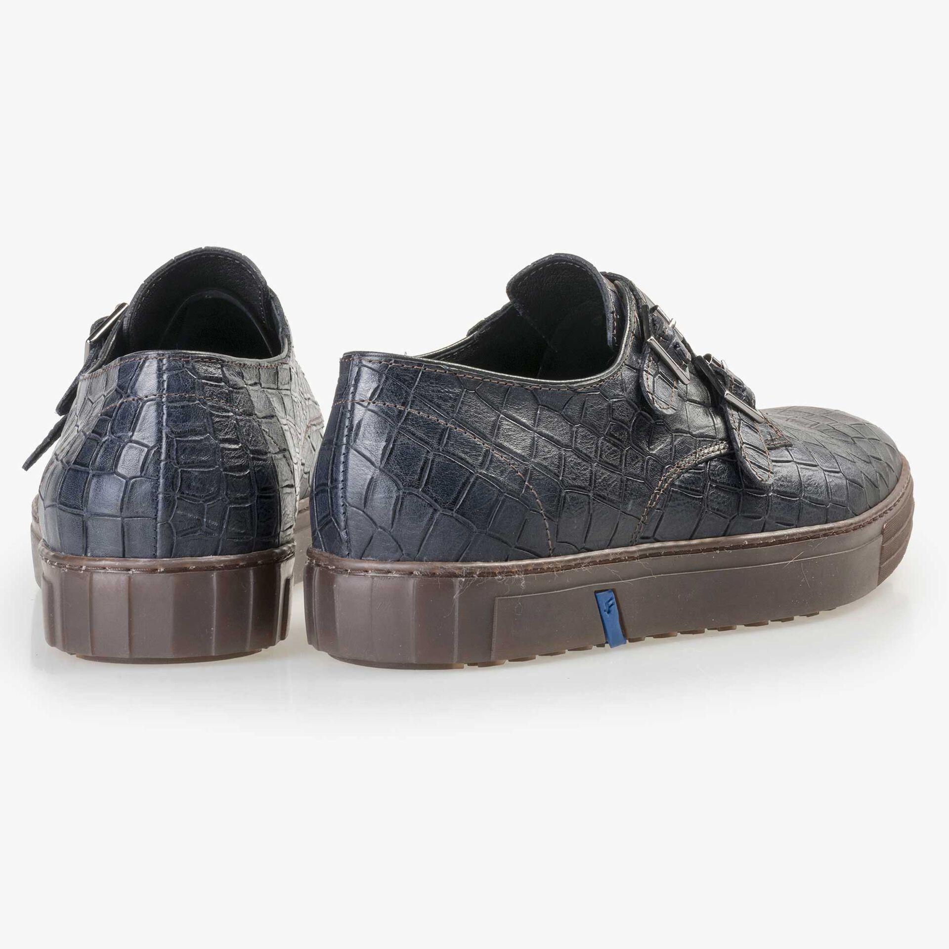 Floris van Bommel men's blue crocodile print buckle shoe