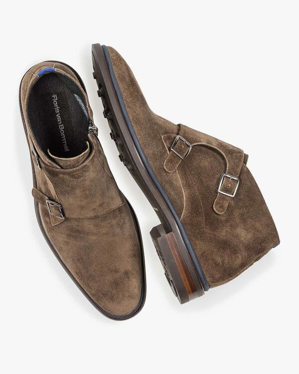 Taupe-coloured suede monk strap