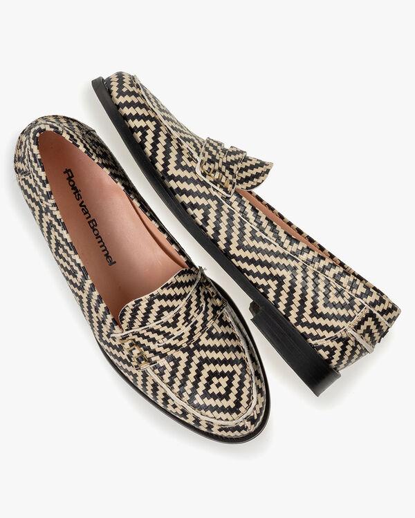 Loafer geprint leer zwart/wit