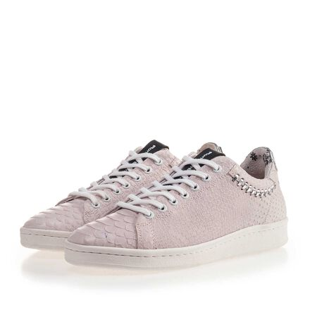 Leather sneaker with print