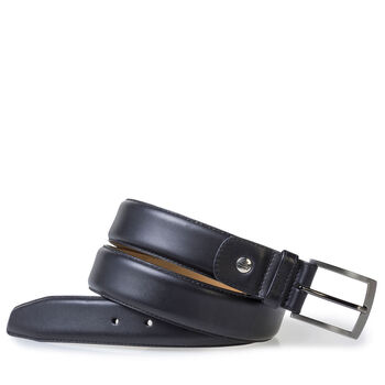 Black calf leather belt