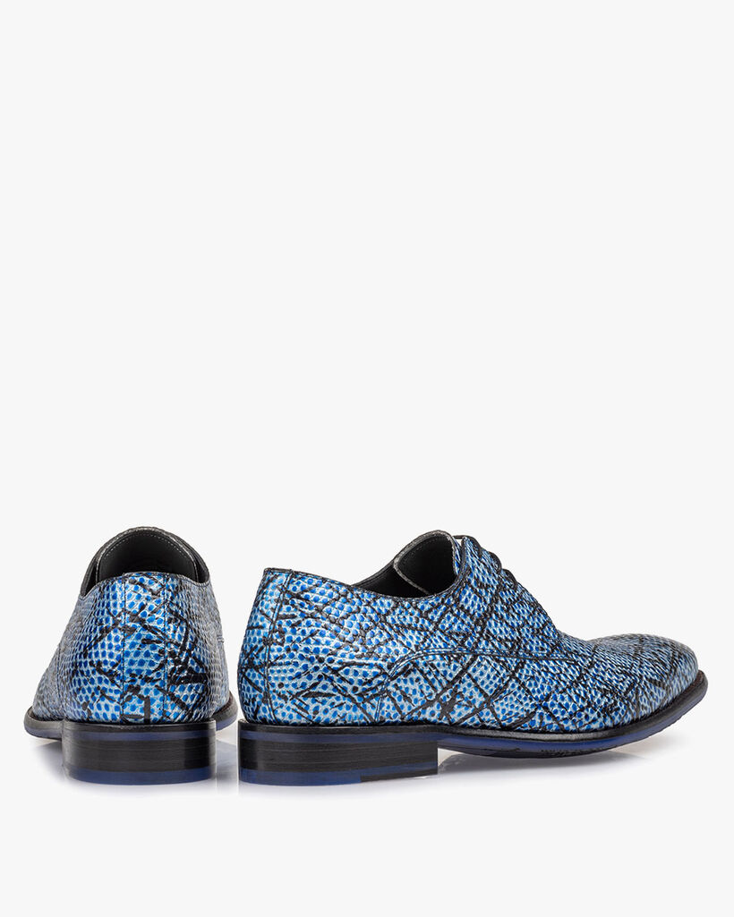 Lace shoe blue printed leather