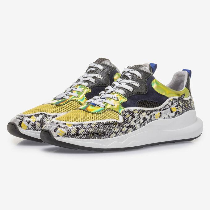 Multi-color sneaker met grijs/gele print