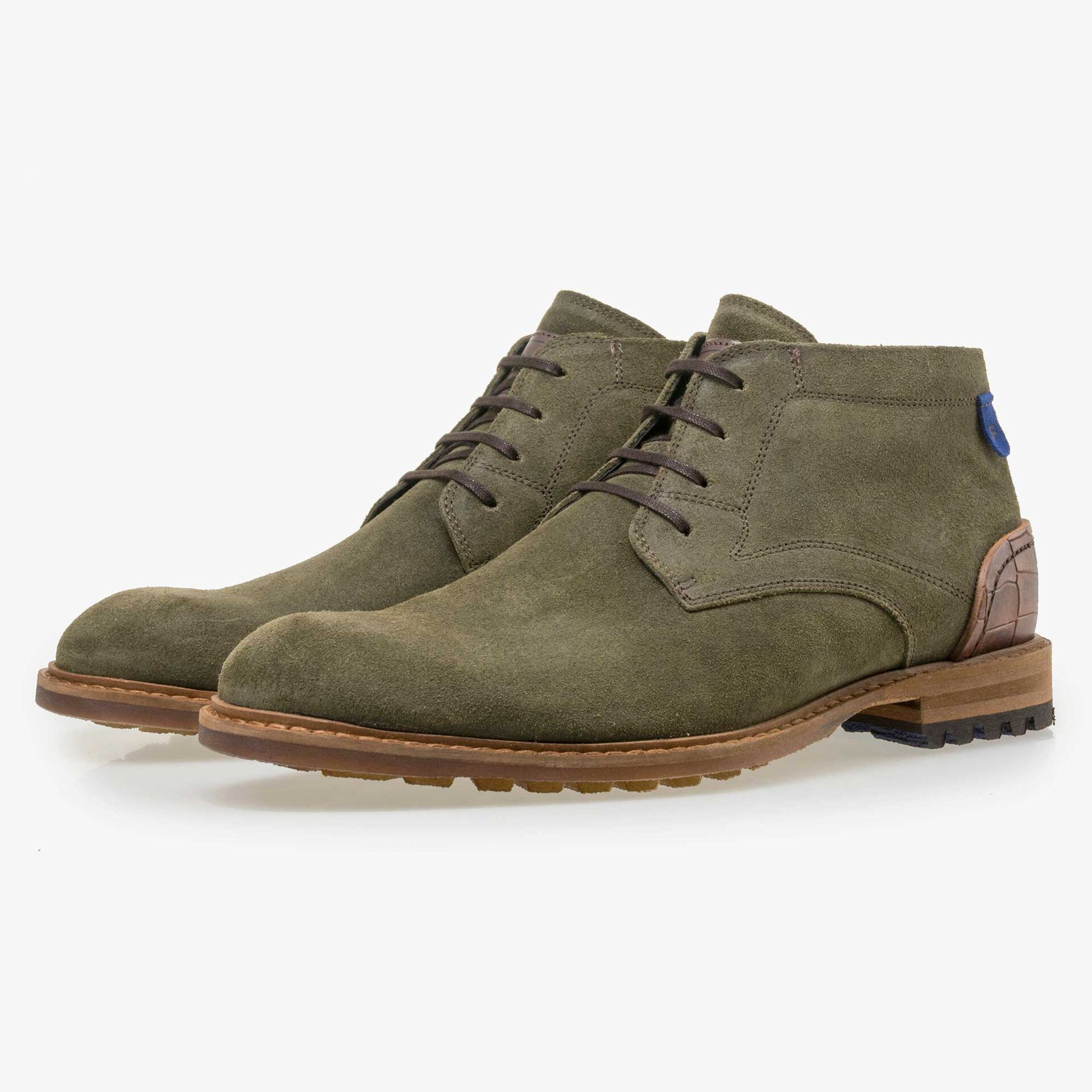 Floris van Bommel men's green suede leather lace boot