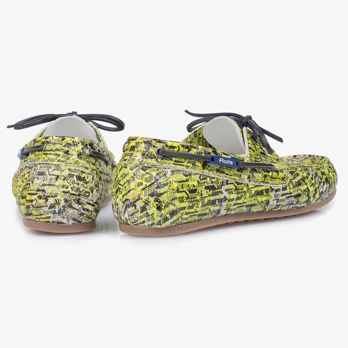 Yellow snake print calf leather sailing shoe