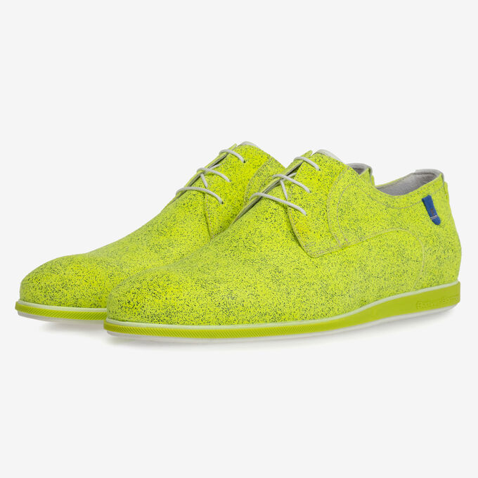 Lace shoe suede leather yellow