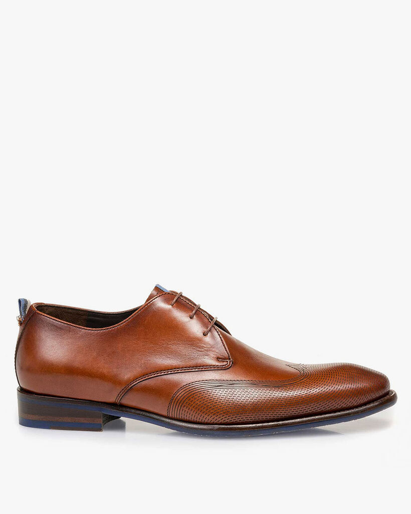 Lace shoe calf leather cognac