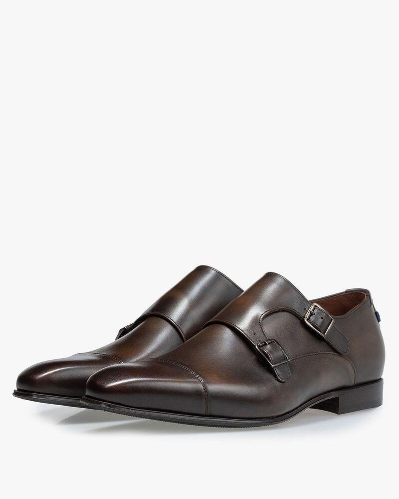 Monk strap calf leather dark brown