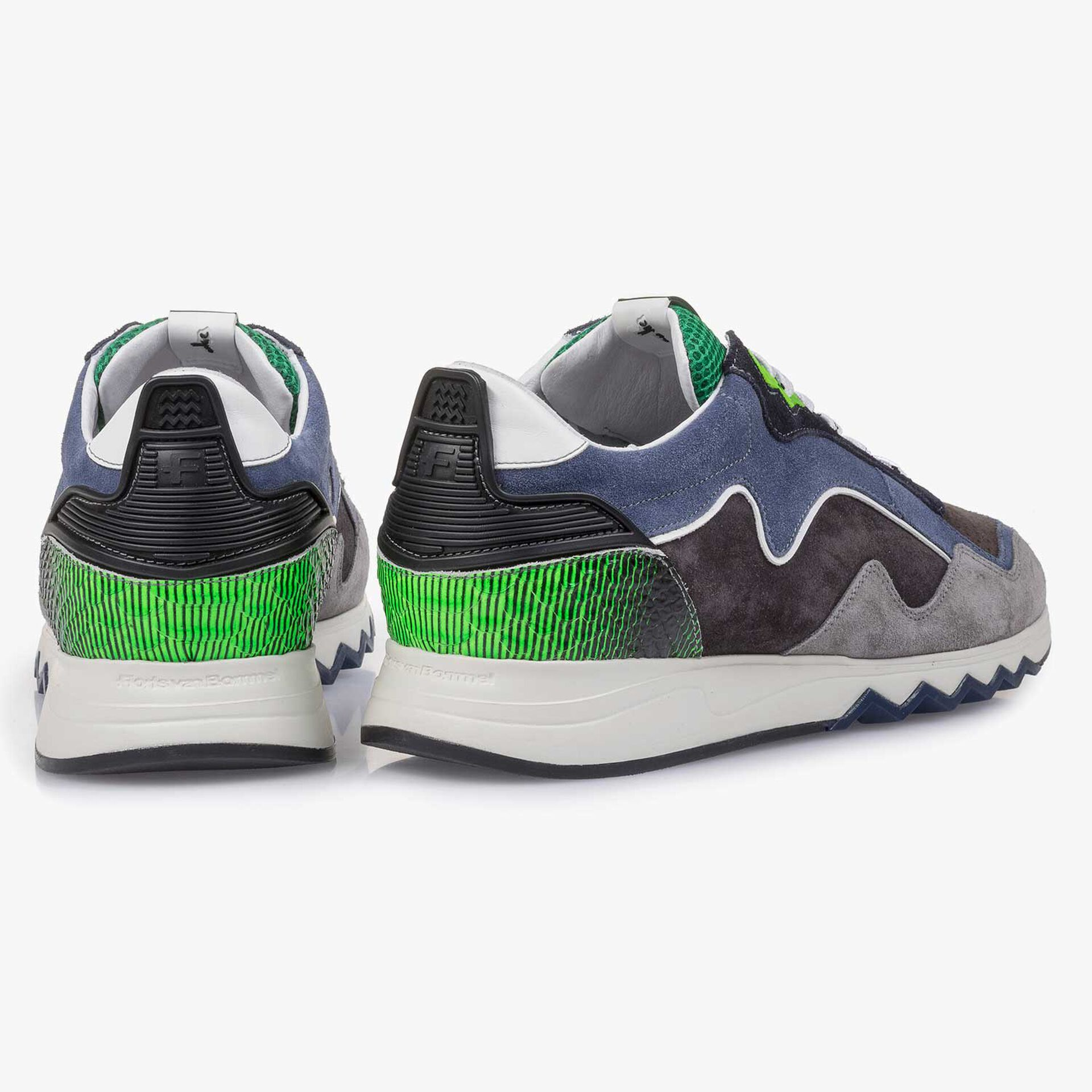 Blue-green suede leather sneaker