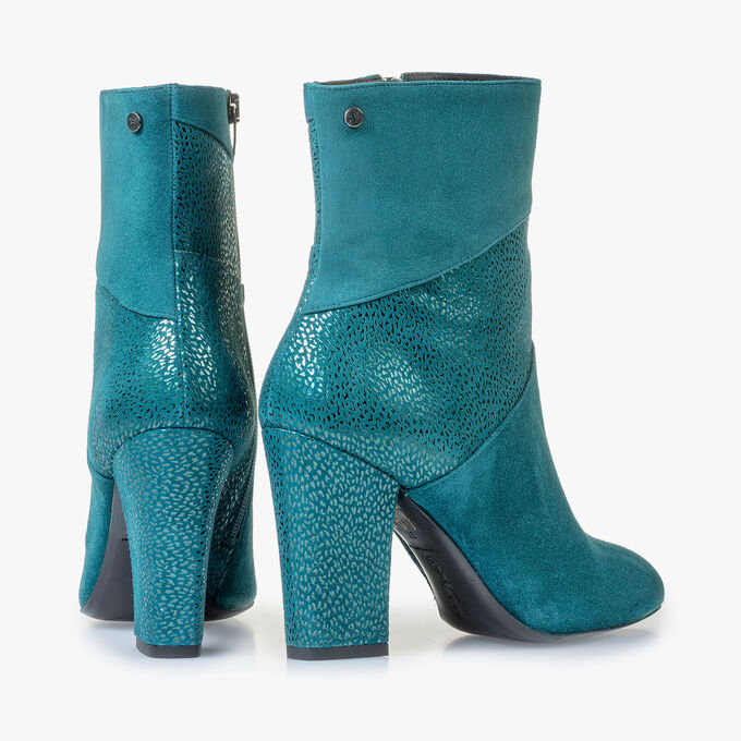 Blue ankle boots with metallic print