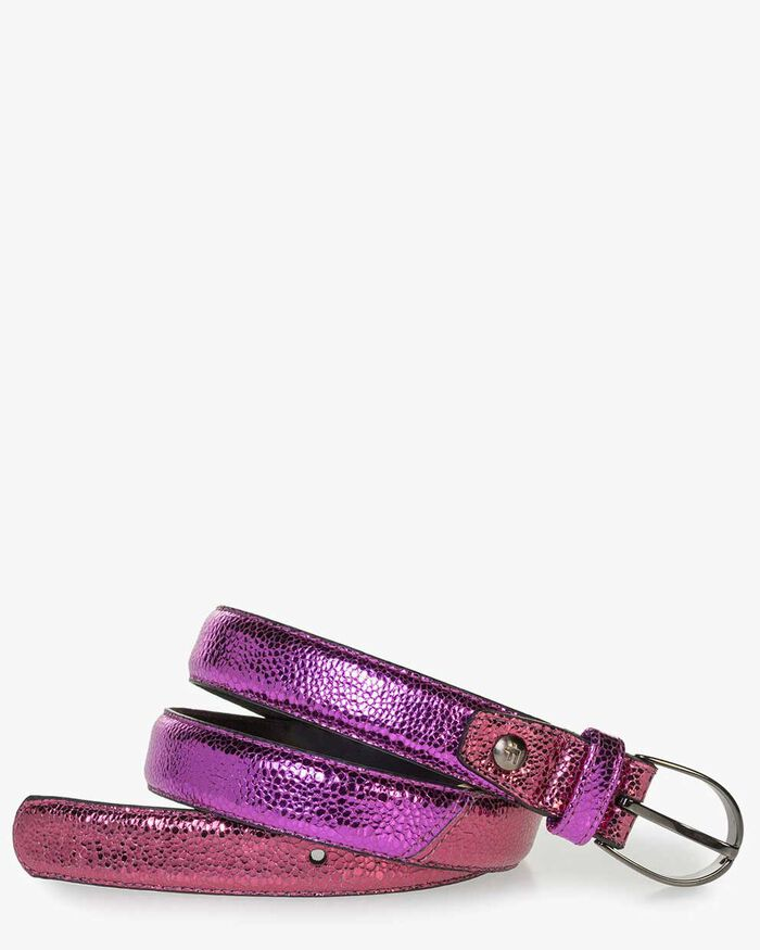 Pink leather belt with metallic print