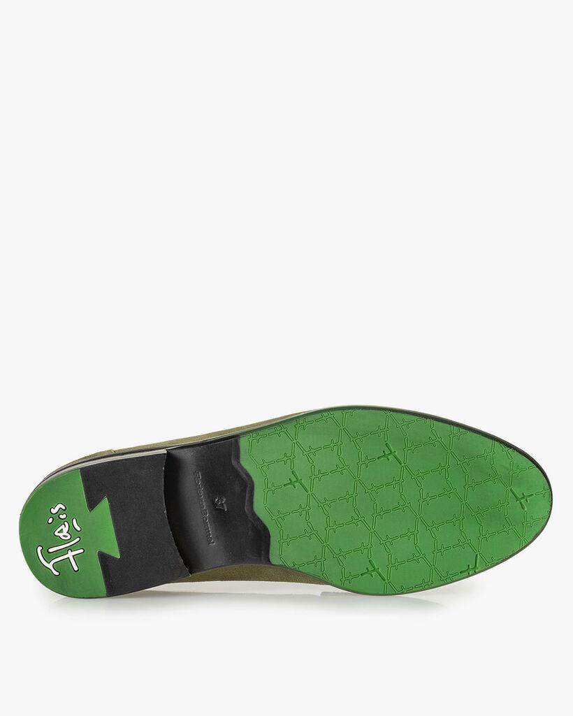 Olijfgroene suède loafer