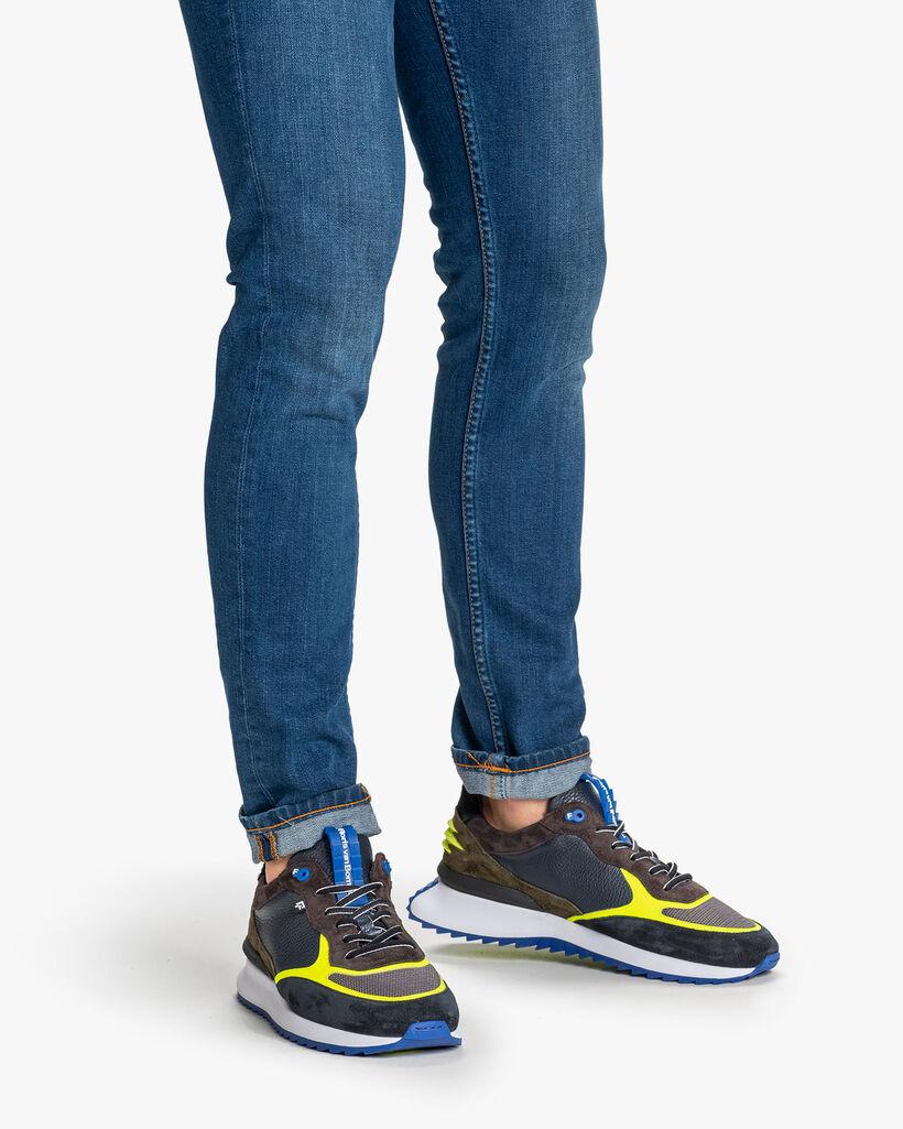 Sharki sneaker blauw/geel