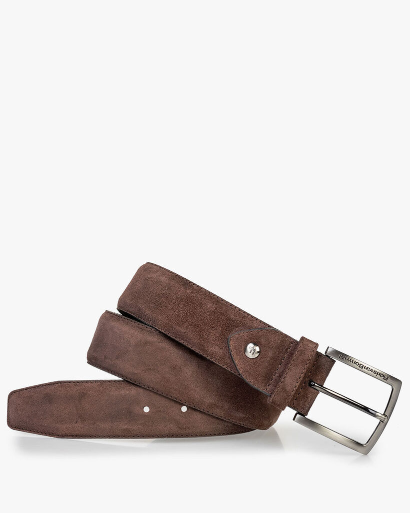 Suede leather belt dark brown