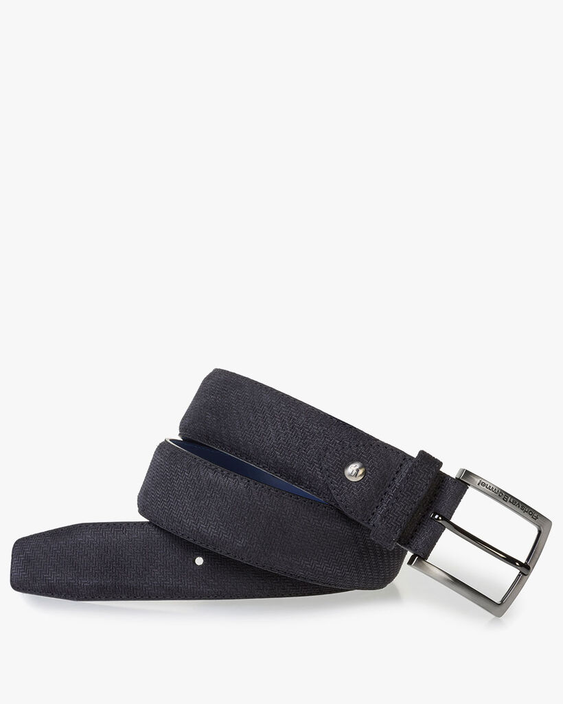 Black suede leather belt with print
