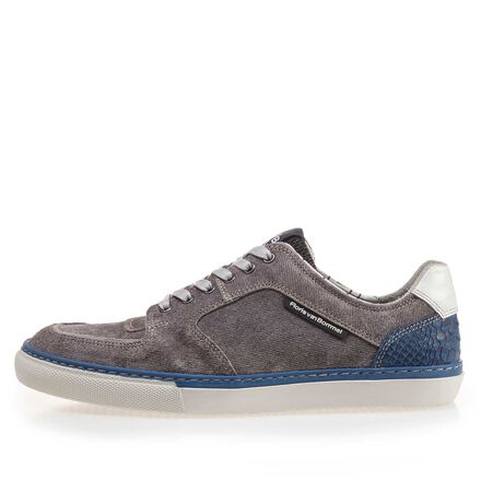 Suede leather sneaker with a white sole