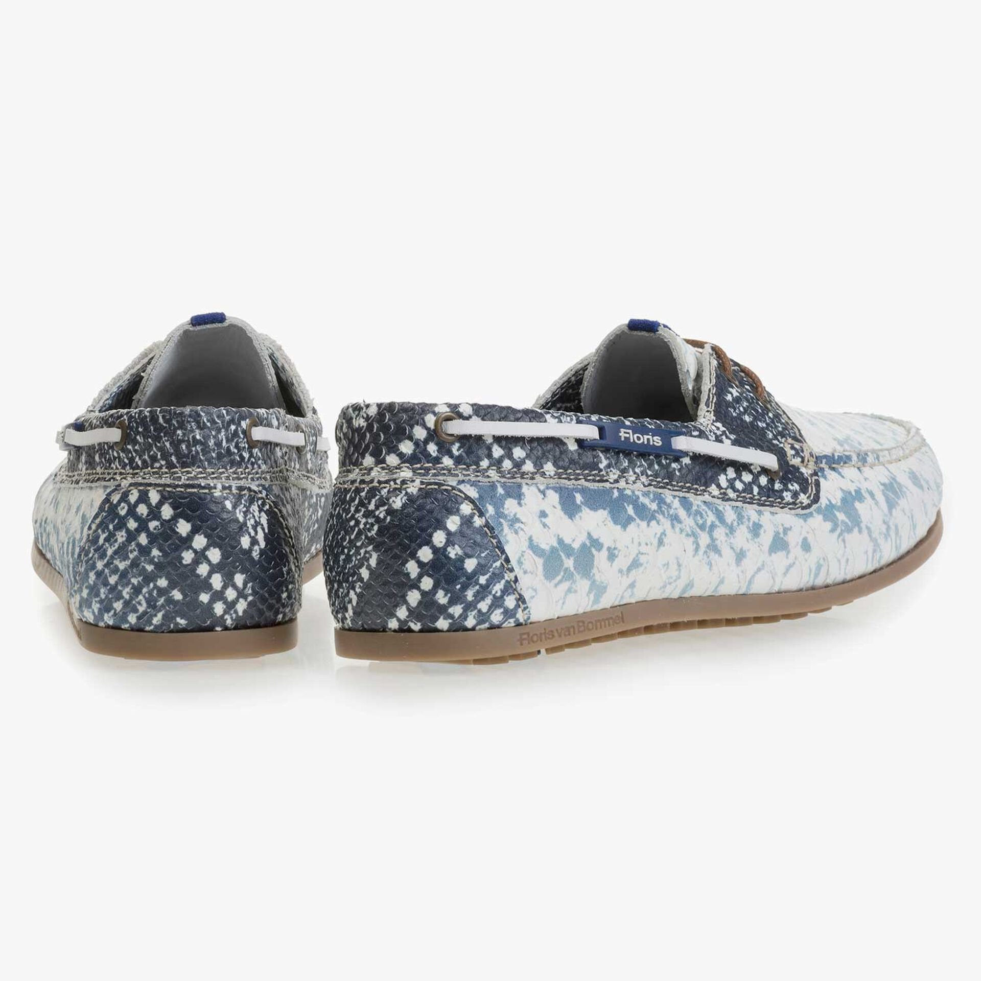 Dark blue leather boat shoe with snake print