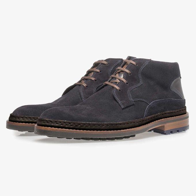 Dark blue suede lace boot