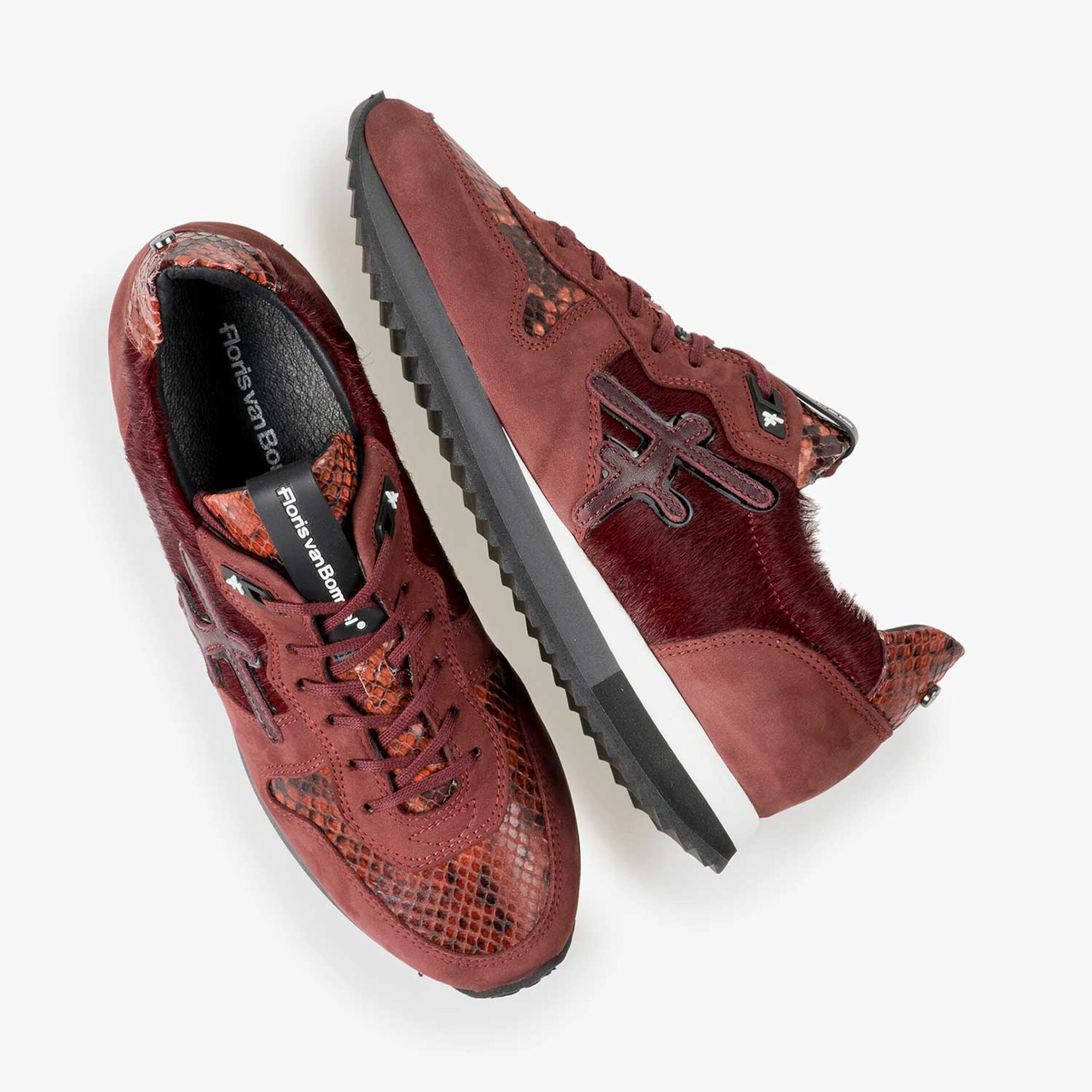 Bodeaux red leather sneaker with pony hair