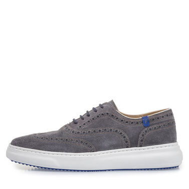 Suede leather lace-up shoe with print