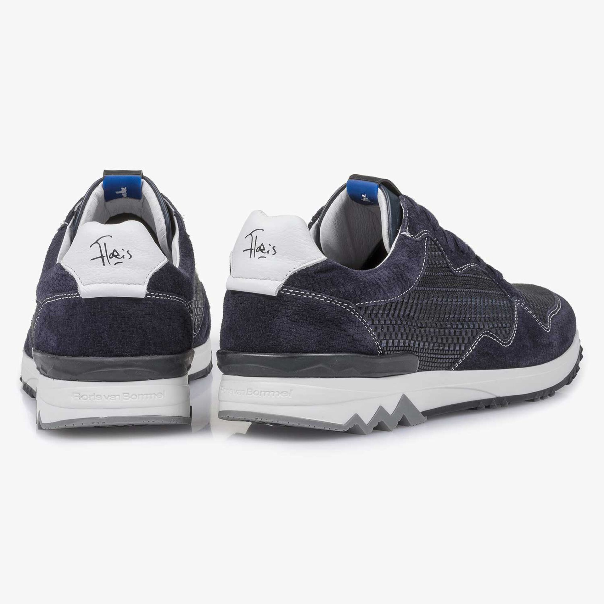 Dark blue suede leather sneaker with a pattern