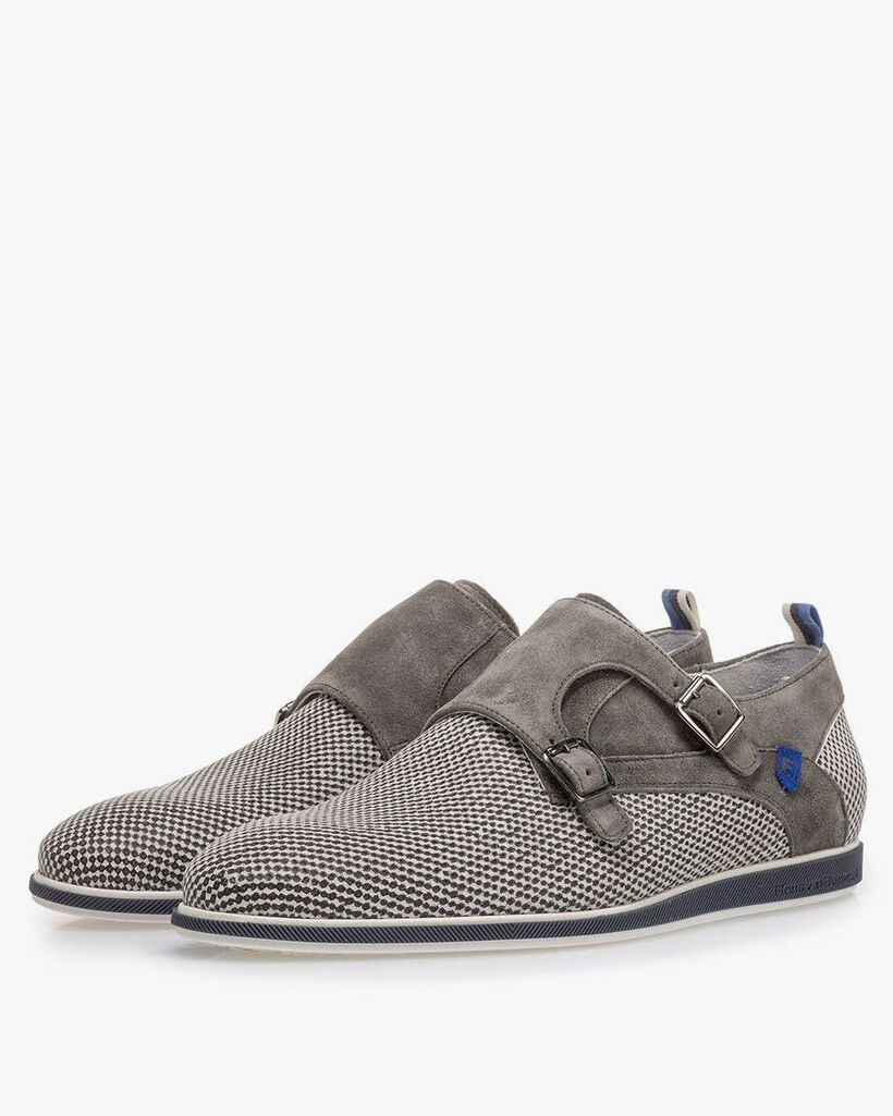 Grey suede leather monk strap with print