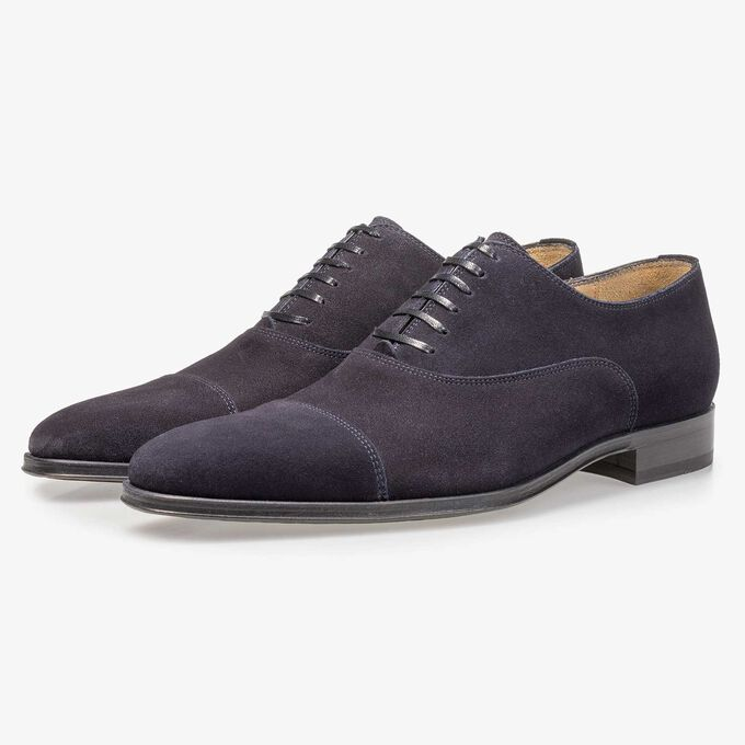 Dark blue calf suede leather lace shoe