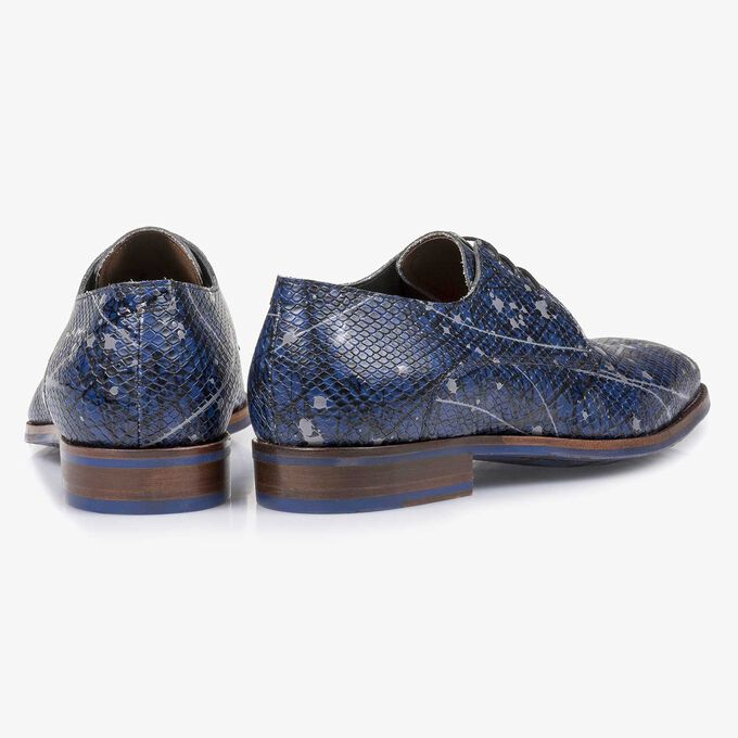 Printed calf leather lace shoe