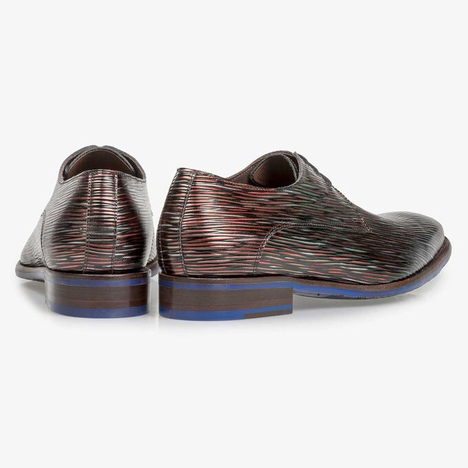 Dark red leather lace shoe with metallic print