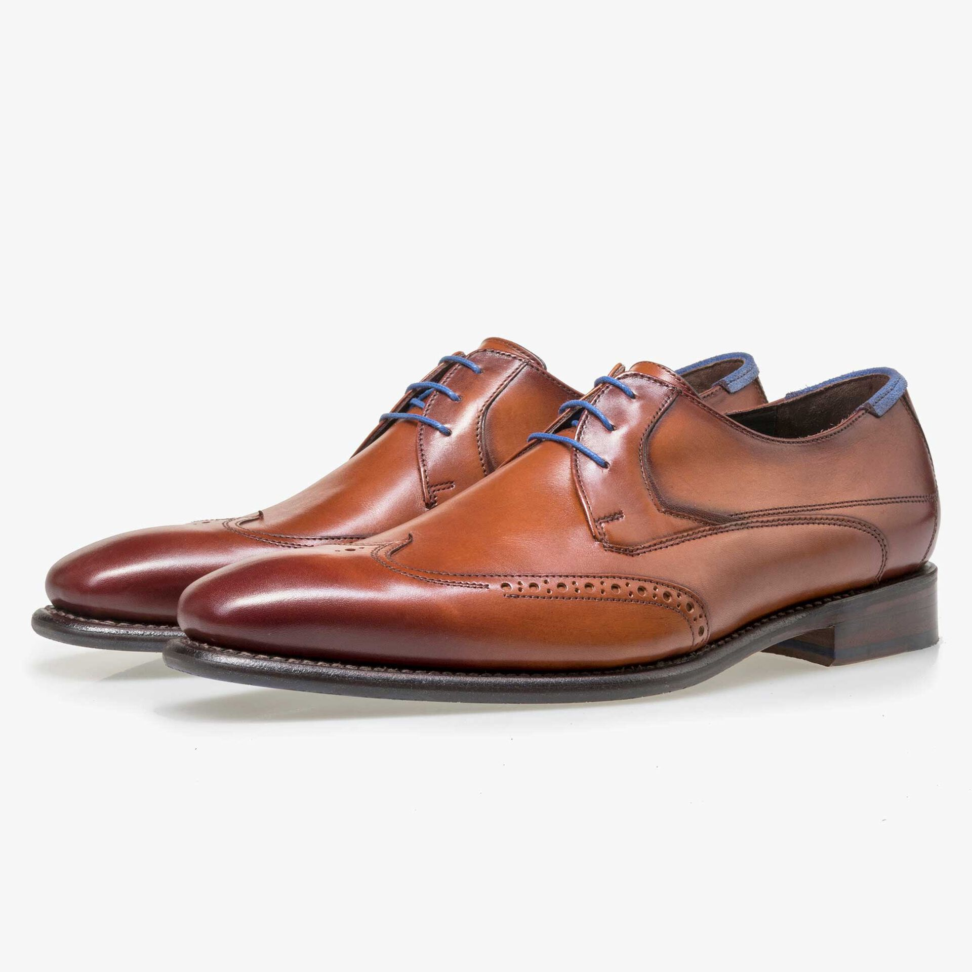 Floris van Bommel men's cognac-coloured leather lace shoe