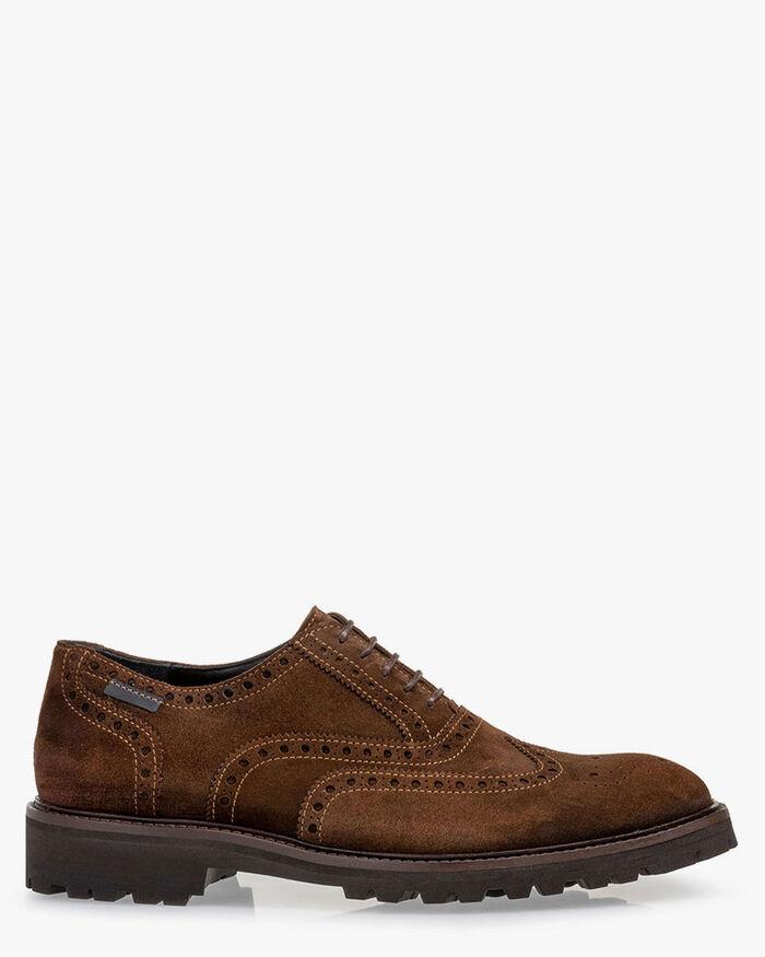 Lace shoe suede cognac