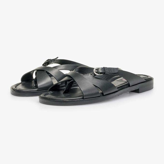 Black leather slipper