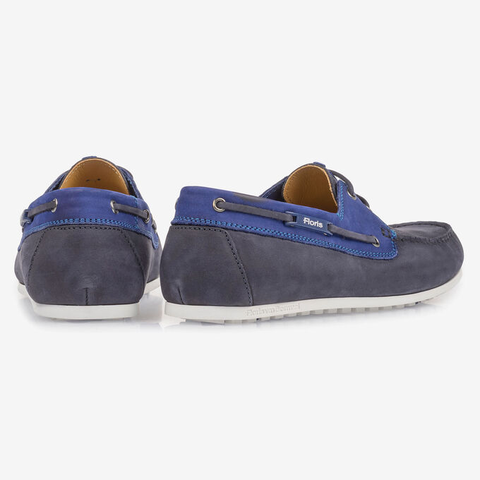 Blue nubuck leather boat shoe