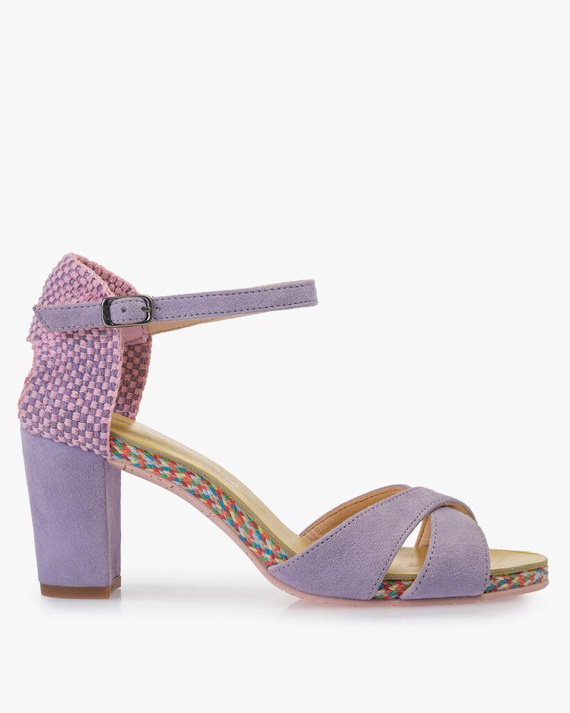 Sandal suede leather purple