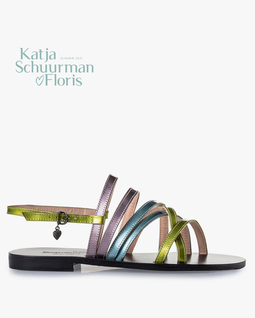 Sandal patent leather green