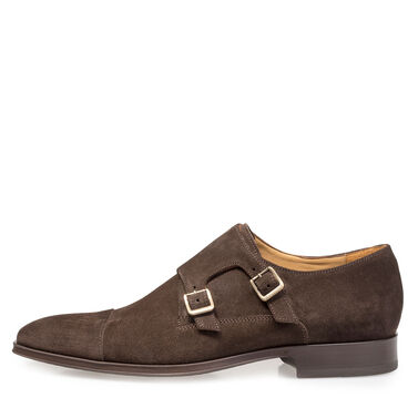 Calf suede leather monk strap