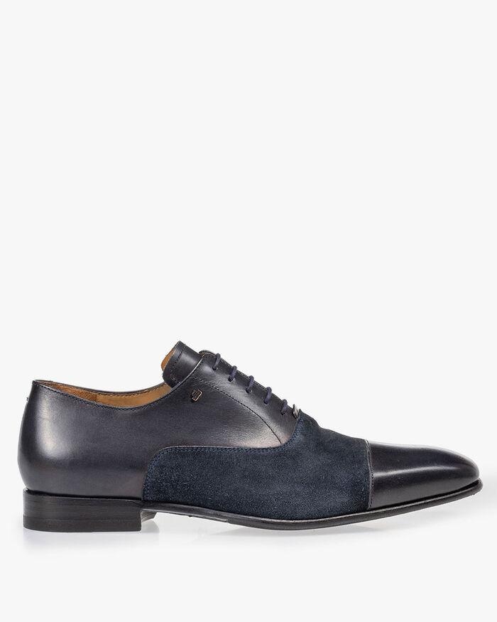Lace shoe calf lather blue