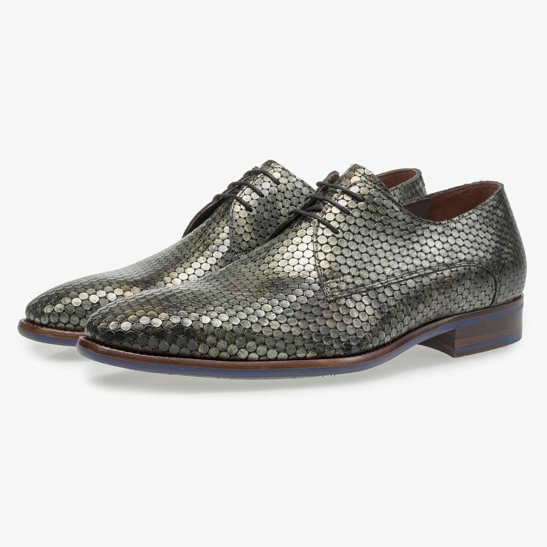 Green metallic print leather lace shoe