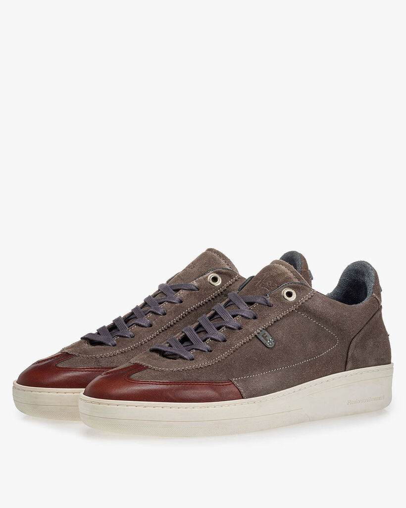 Sneaker suède donker taupe