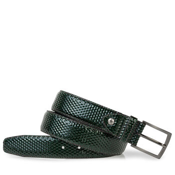Belt printed leather green