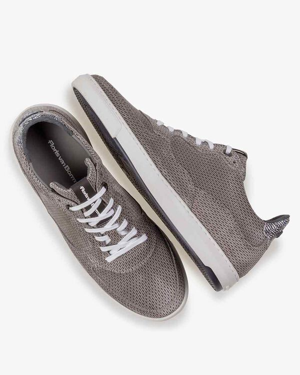 Sneaker printed suede leather grey