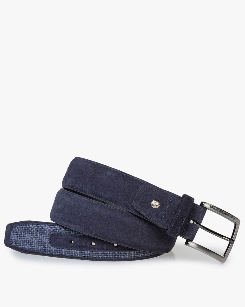 Dark blue suede leather belt