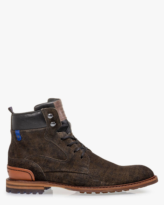 Lace boot suede dark green