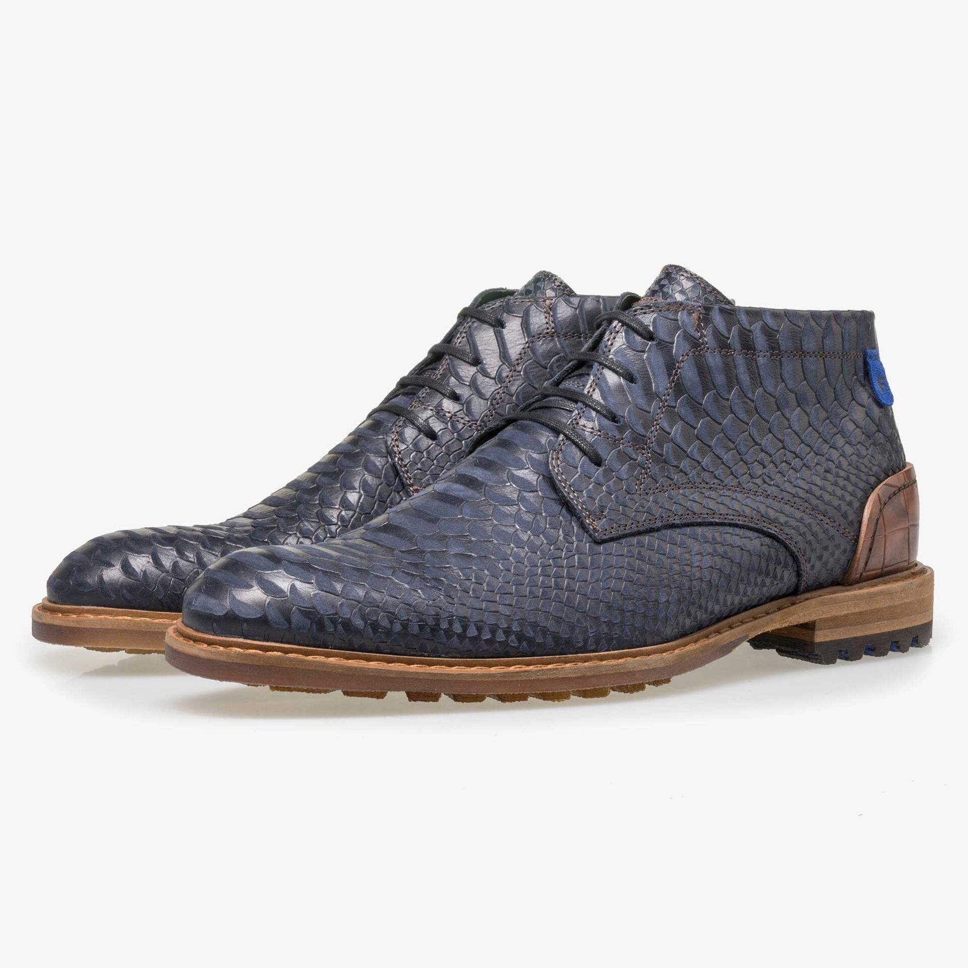 Floris van Bommel men's blue leather lace boot finished with a snake print