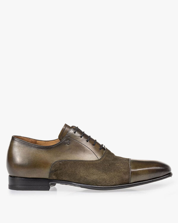 Lace shoe calf leather green