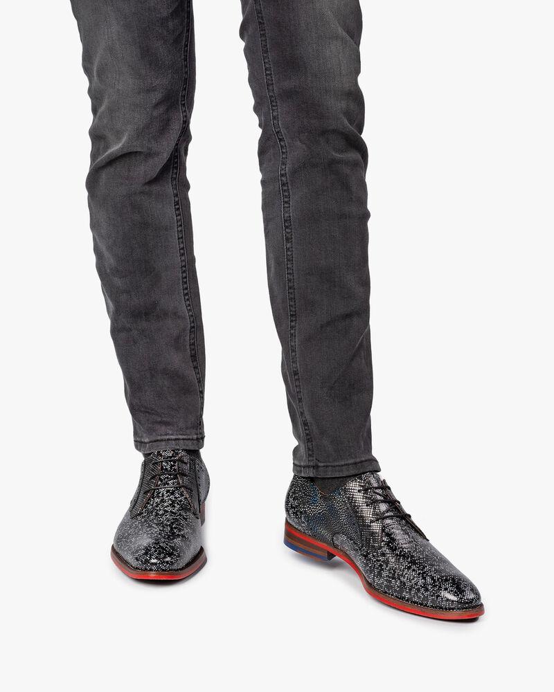 Veterschoen zwart/grijs metallic